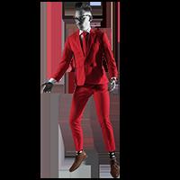 Wat doet NOBLY? Deze foto laat zien hoe bart zweeft in een NOBLY-rood pak in de fase denken en dromen