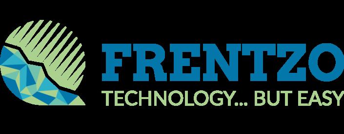 Grafisch ontwerp van het logo van Frentzo, een klant van NOBLY waarbij de tekst rechts van het logo staat