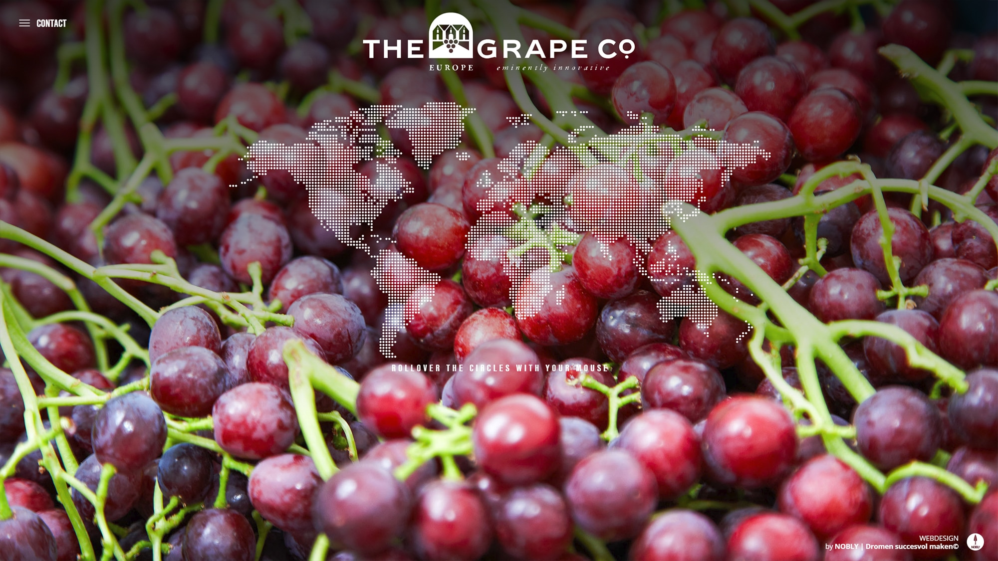 Screenshot van de website van the grape company gemaakt door NOBLY