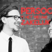 Bart en Annemieke van NOBLY lachen met elkaar om een grap. In beeld is de tekst Persoonlijk is het nieuwe zakelijk te zien