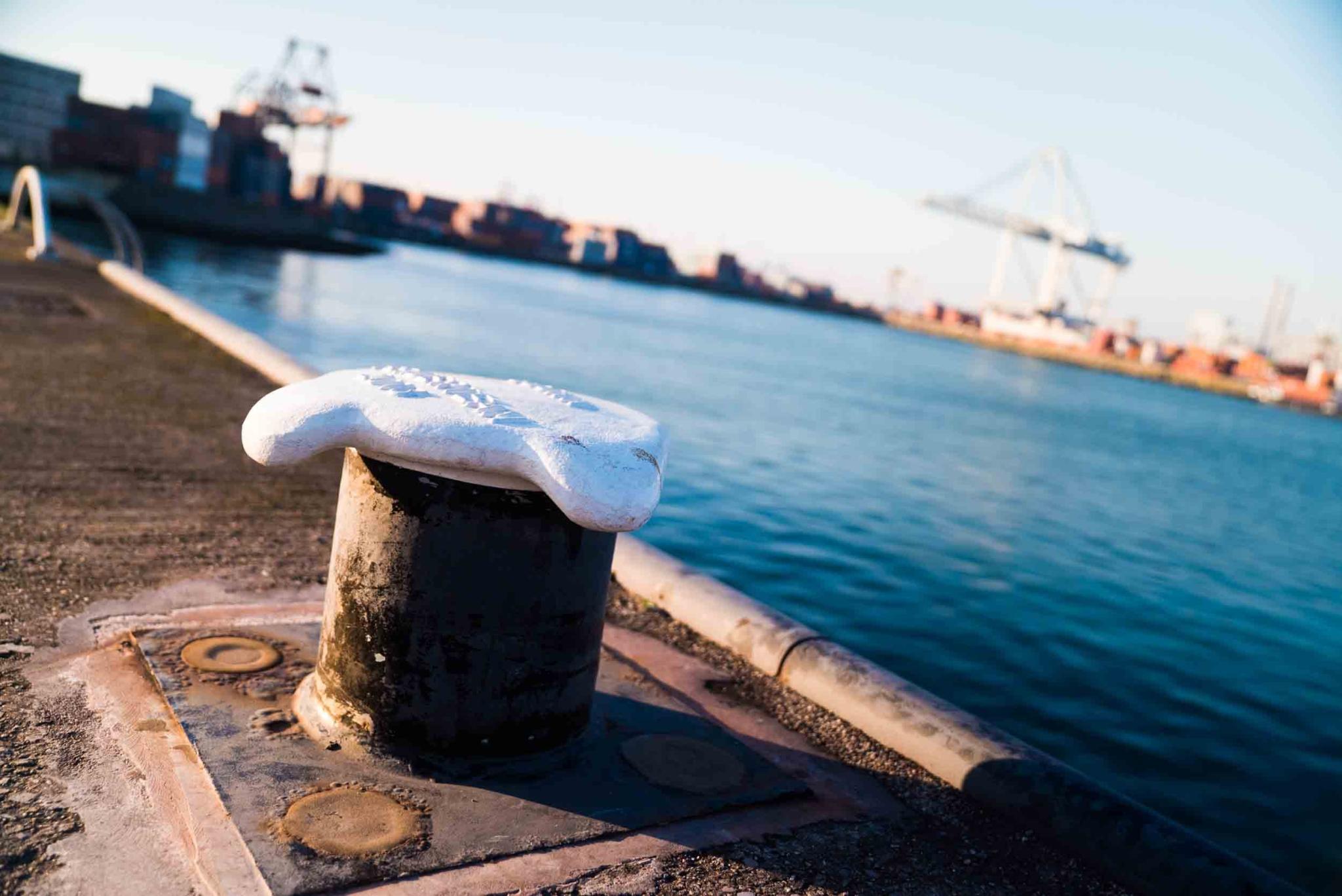 Een paal op de pier met een witte bovenkant om schepen aan te kunnen meren in de buurt van Portbase een klant van NOBLY