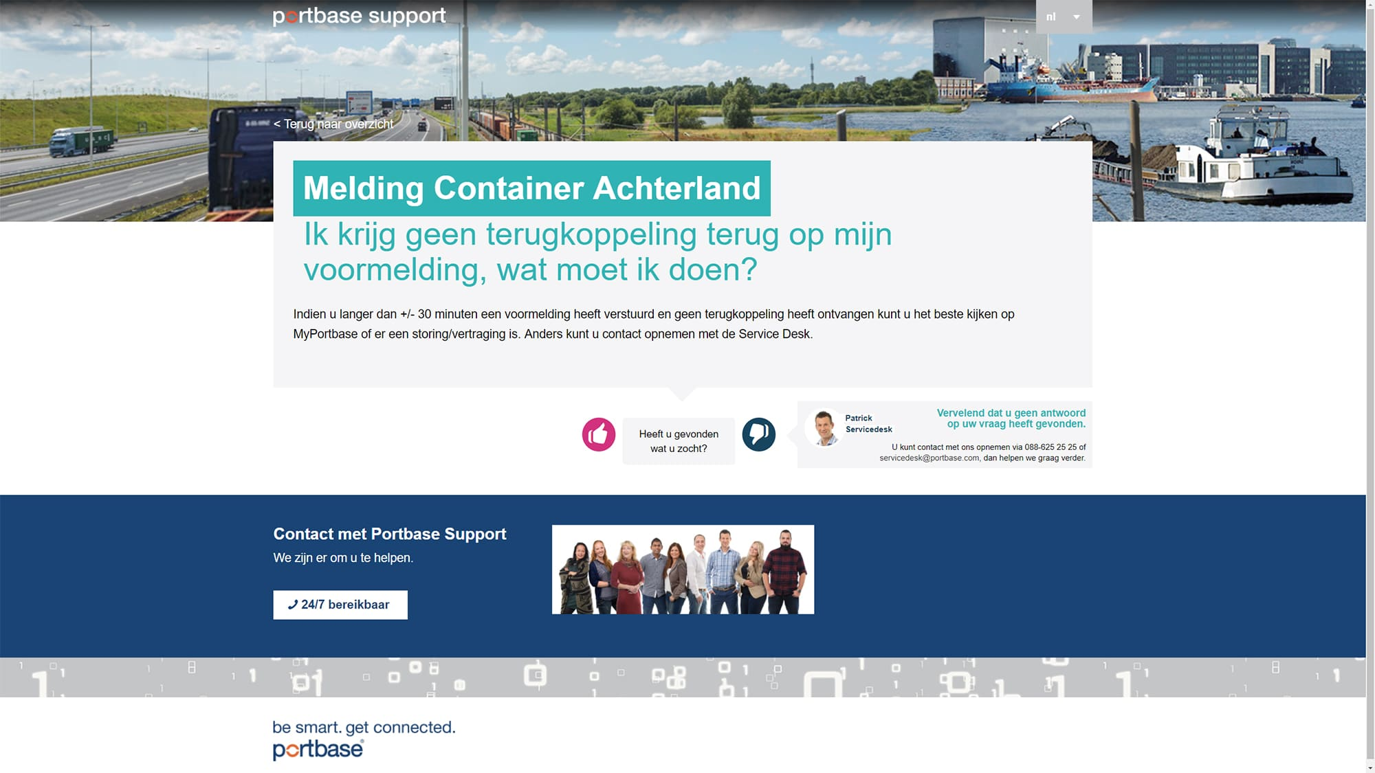 Screenshot van de website van Portbase ontworpen door NOBLY Authentieke Communicatie & Creatie