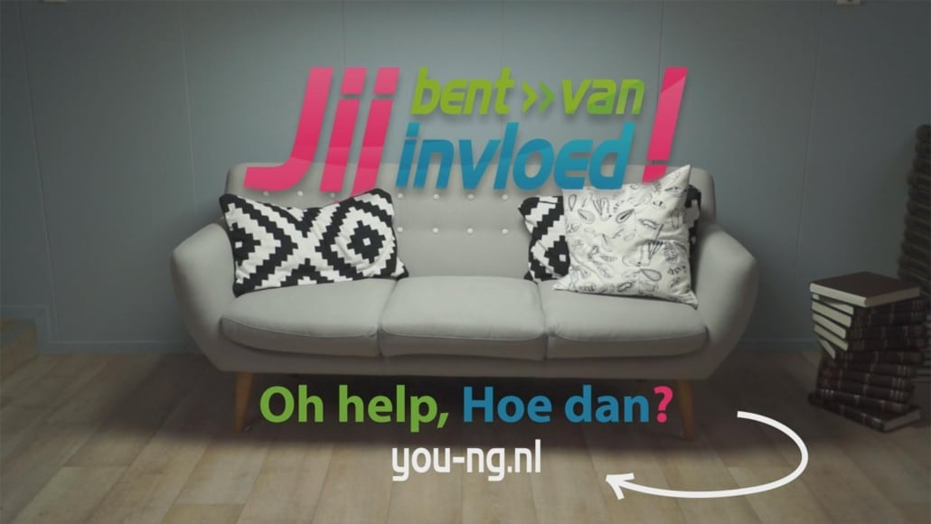A couch with pillows next to books. Text in photo: YOU are of Influence! Oh help, how then? you-ng.nl